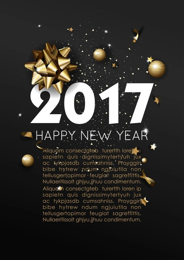 Dark styles happy new year 2017 poster template vector 02 free download Dark styles happy new year 2017 poster template vector 02
