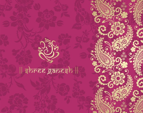 Indian Ethnic Pattern With Pink Backgrounds Vector 02 Free