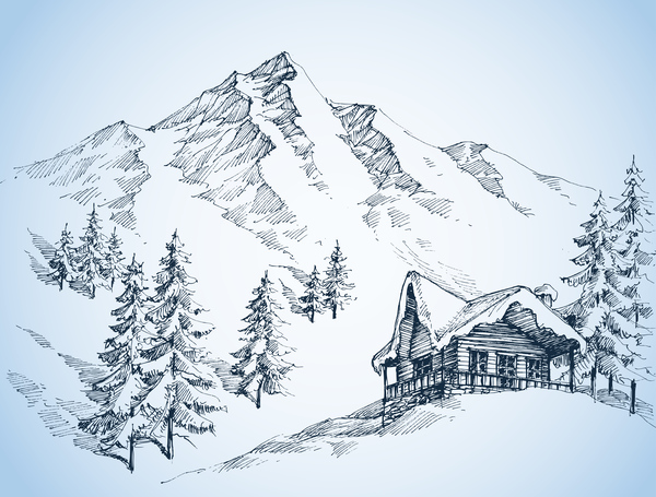 Cabin With Snow Mountains Landscape Sketch Vector Free
