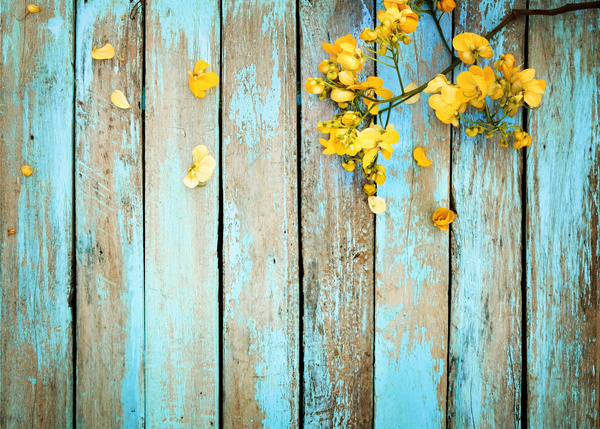 Old Wooden Background Flowers Stock Photo 01 Free Download