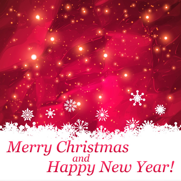 Merry Christmas And Happy New Year Background Red Abstract