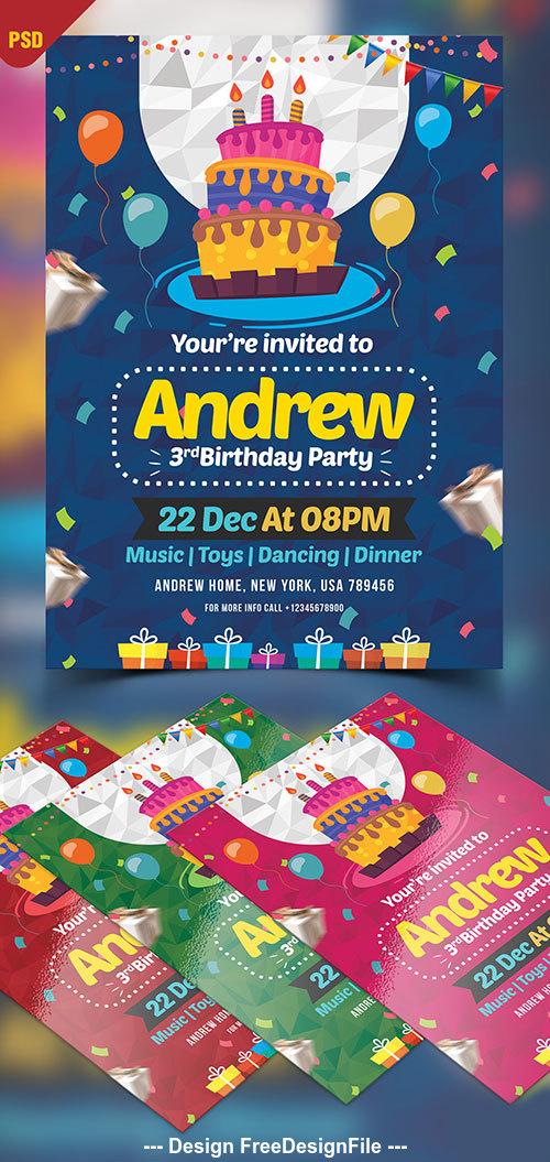 Birthday Invitation Card Design Psd Template Free Download