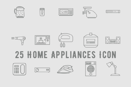 25 Home Appliances Icons