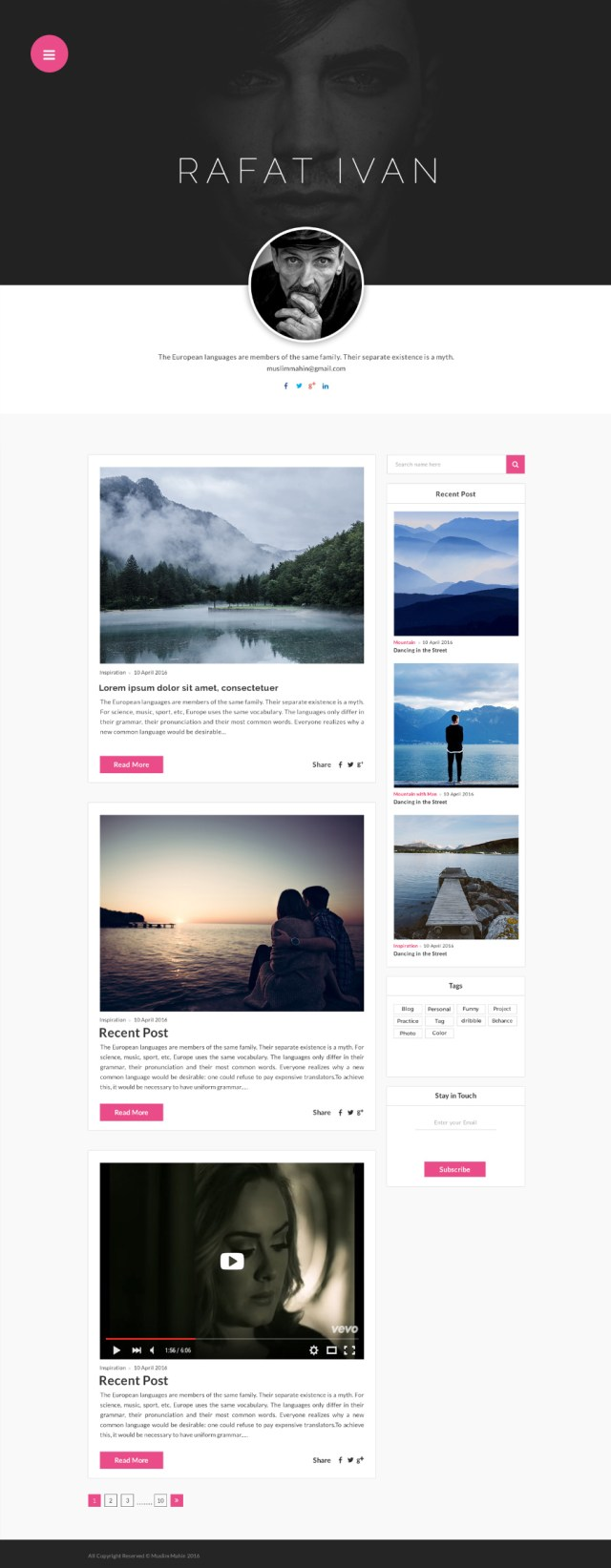 Personal Blog - PSD Template