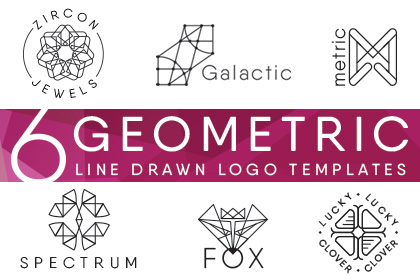 6 Free Geometric Line Drawn Logo Templates