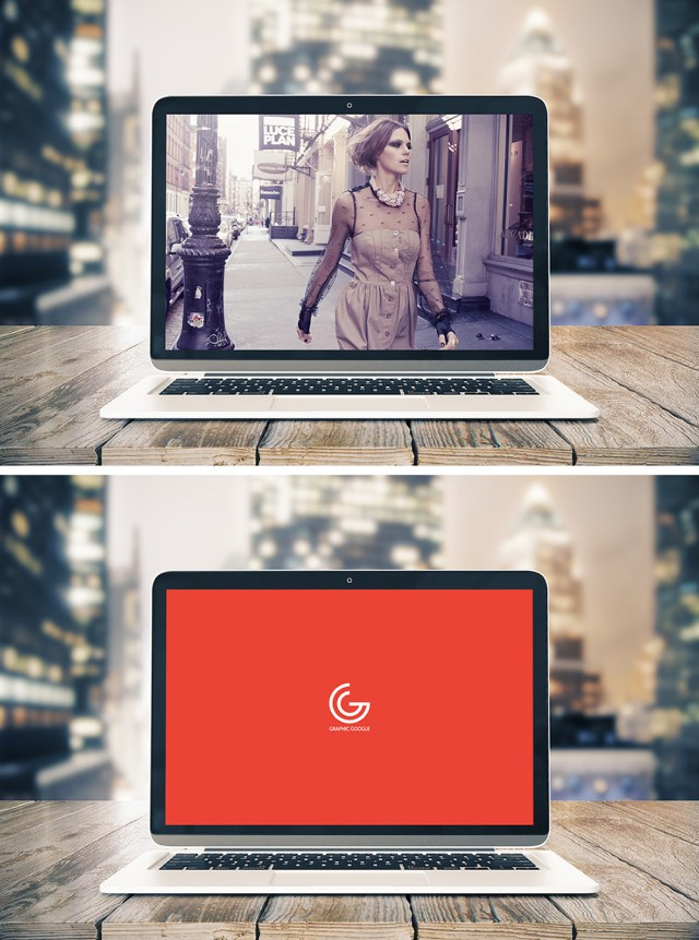 Free Desktop Notebook Screen Mockup