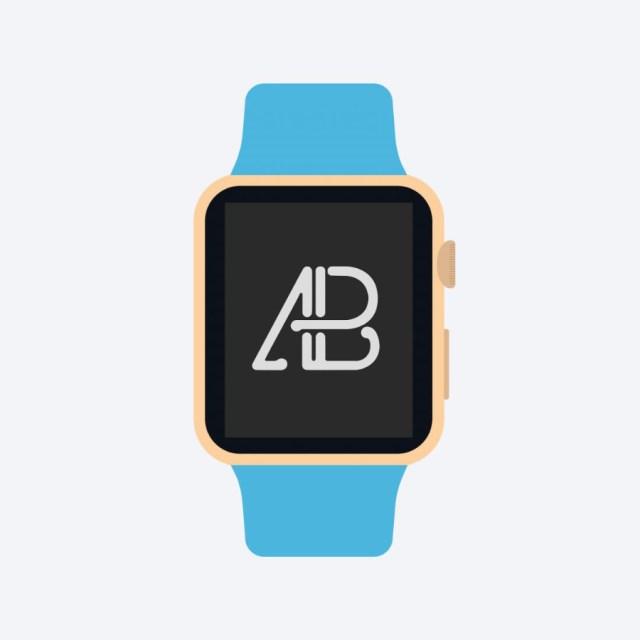 Free Flat 2D Apple Watch Mockup prev02
