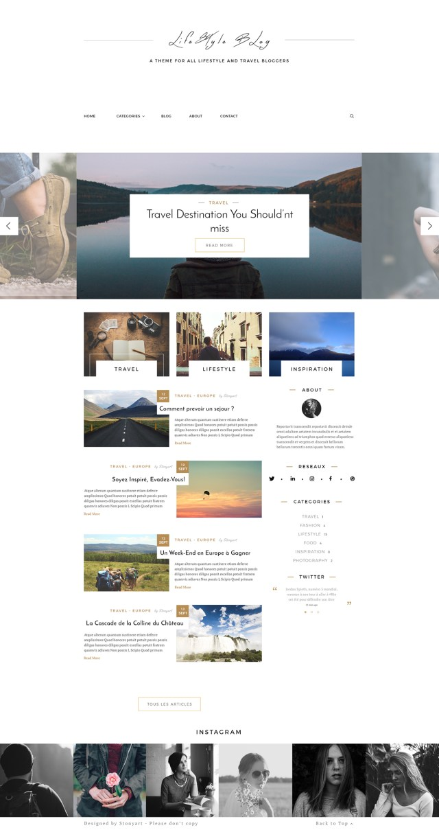 Lifestyle Blog Template Free PSD prev01