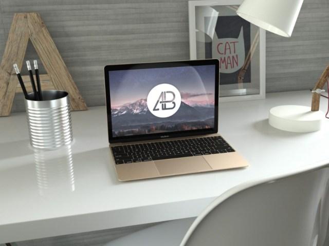 Free Realistic Gold Macbook Mockup