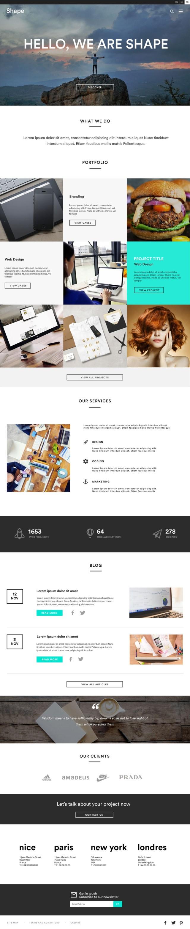 Shape Free Homepage UI Kit