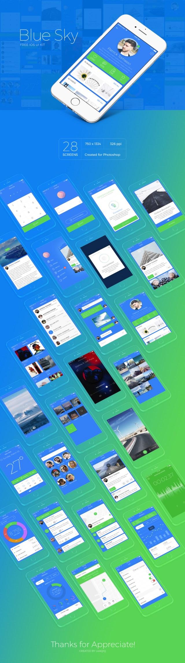Blue Sky Free iOS UI Kit