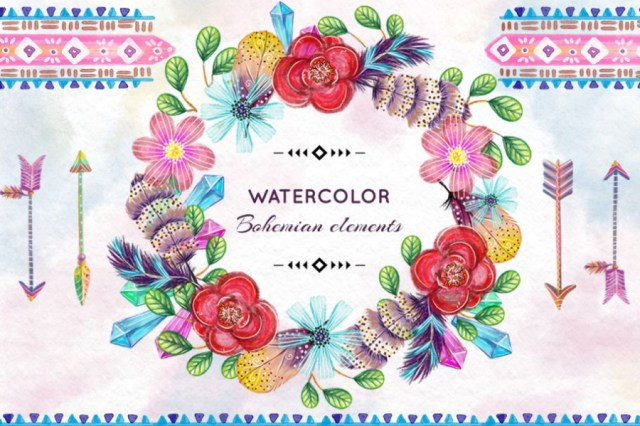 Free Watercolor Bohemian Frame
