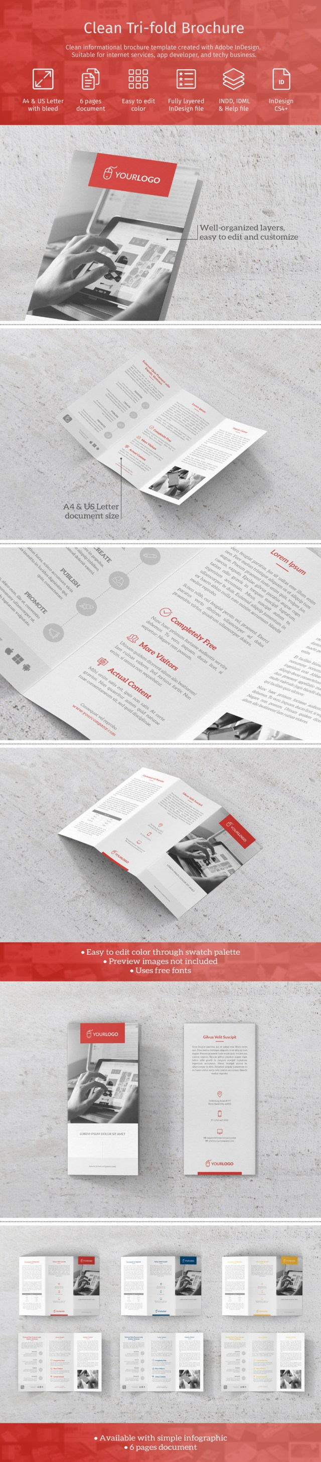 Free Clean Trifold Brochure Template