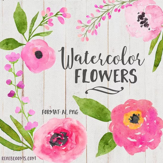 Free Pink Roses Watercolor Elements