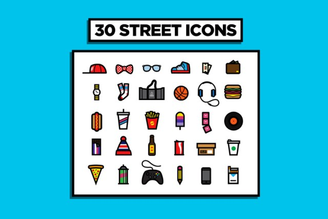30 Urban Street Vector Icons