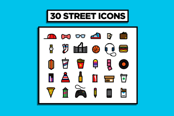 30 Urban Street Vector Icons