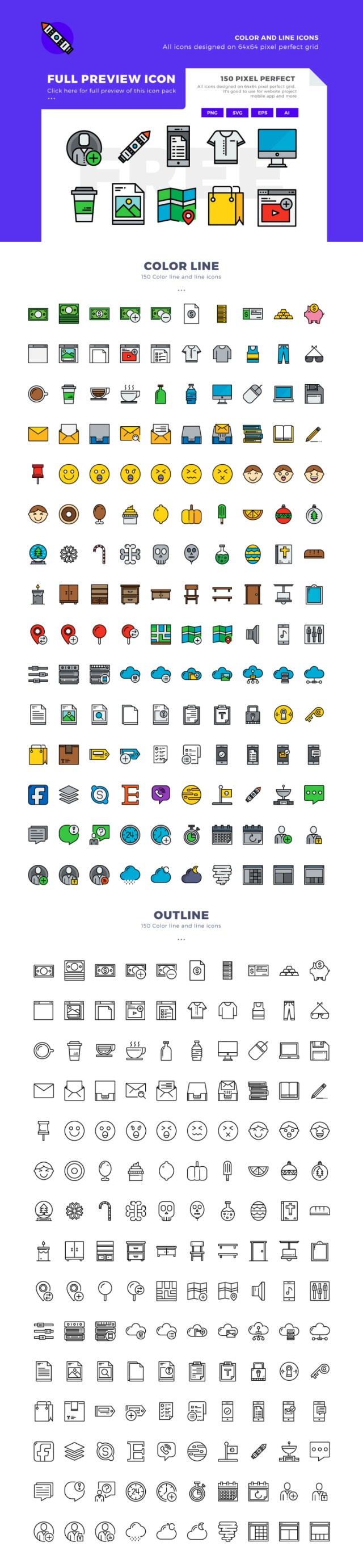150 Mix Color-Line Icon Samples