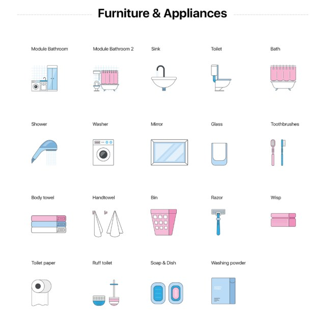 Bathroom Furniture Icon Collection