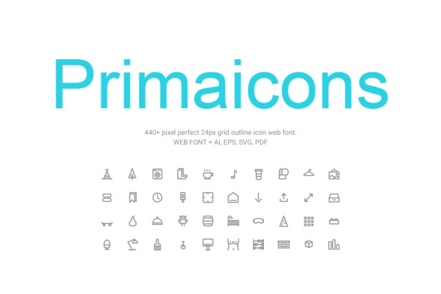 Primaicons Outline Icons Free Demo