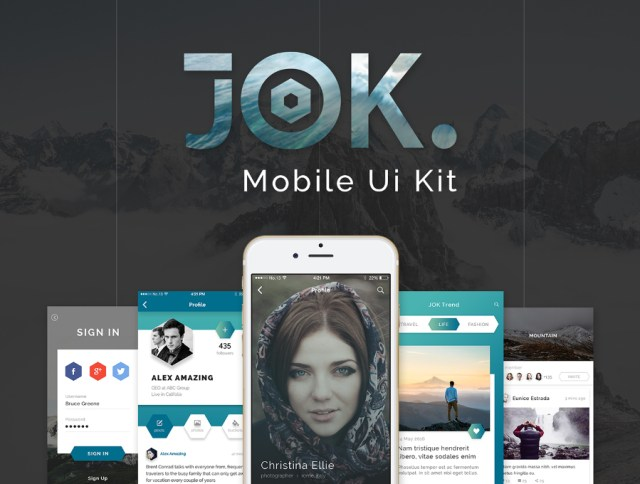 JOK Mobile UI Kit Free Demo