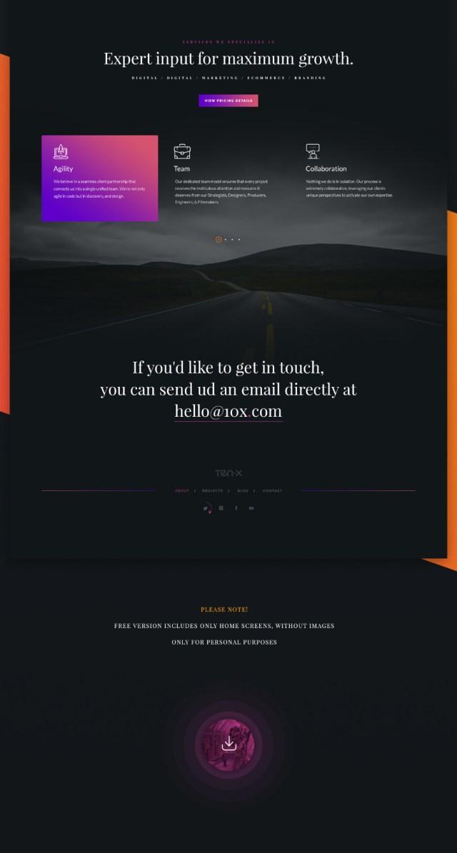 10X Free PSD Website Template