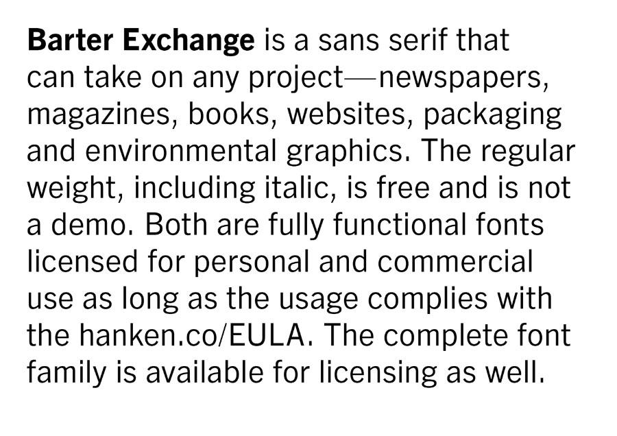 Barter Exchange Typeface Free