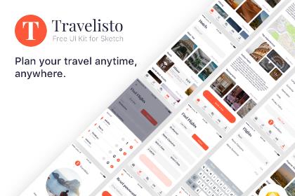 Travelisto Free Sketch UI Kit