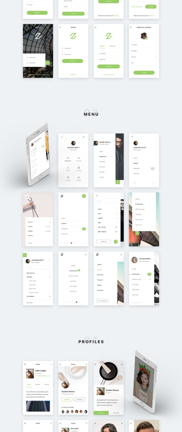 Zade Mobile UI Kit Free Demo