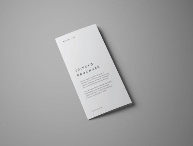 free realistic trifold brochure mockup