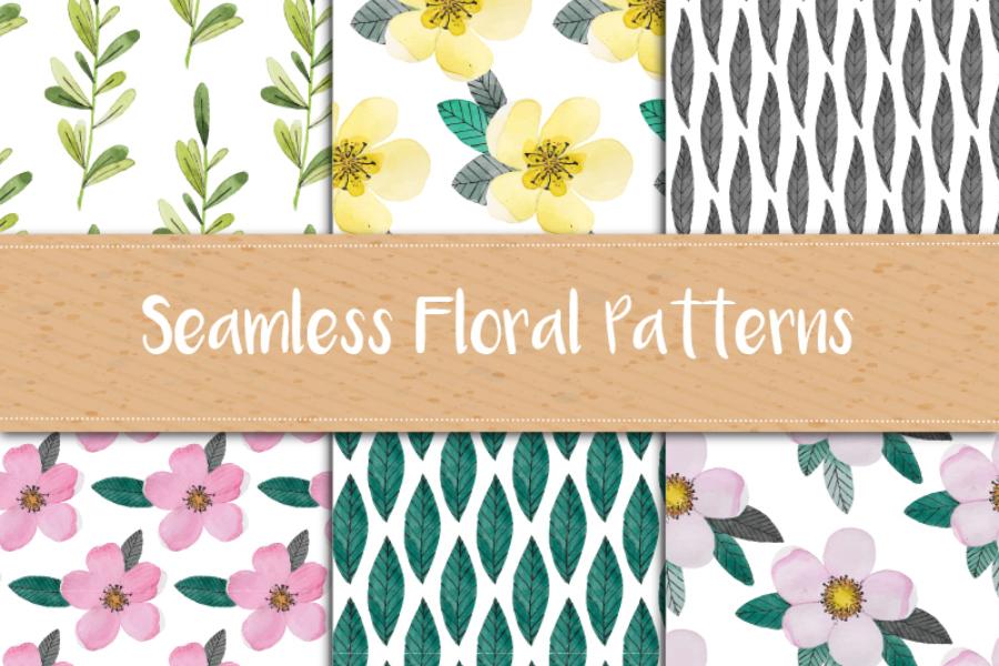 Watercolor Floral Pattern Set