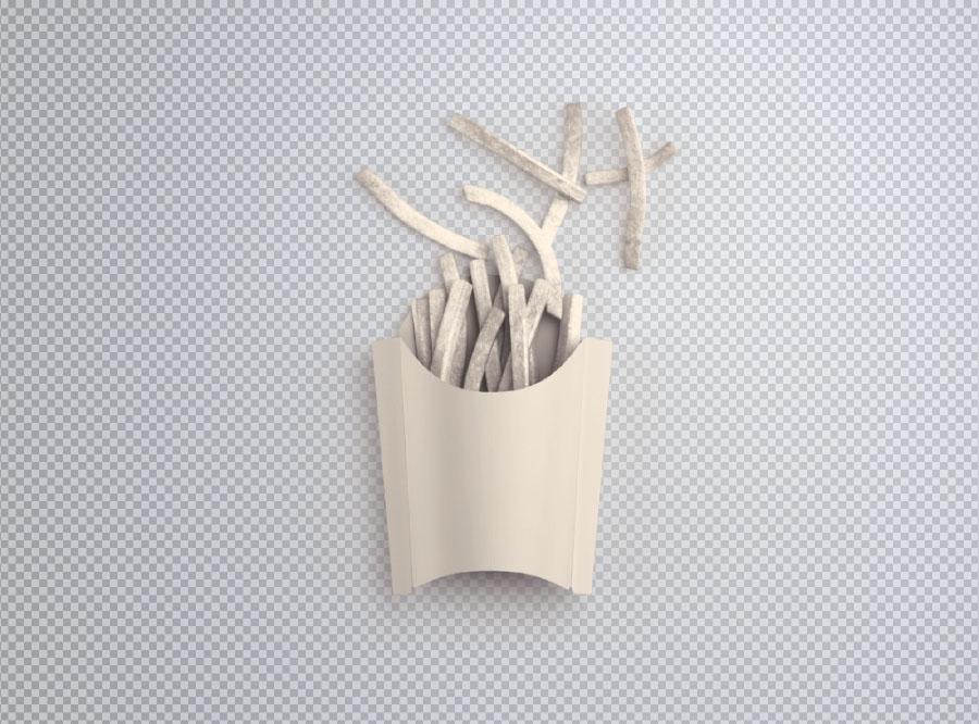 Free Fries Box PSD Mockup