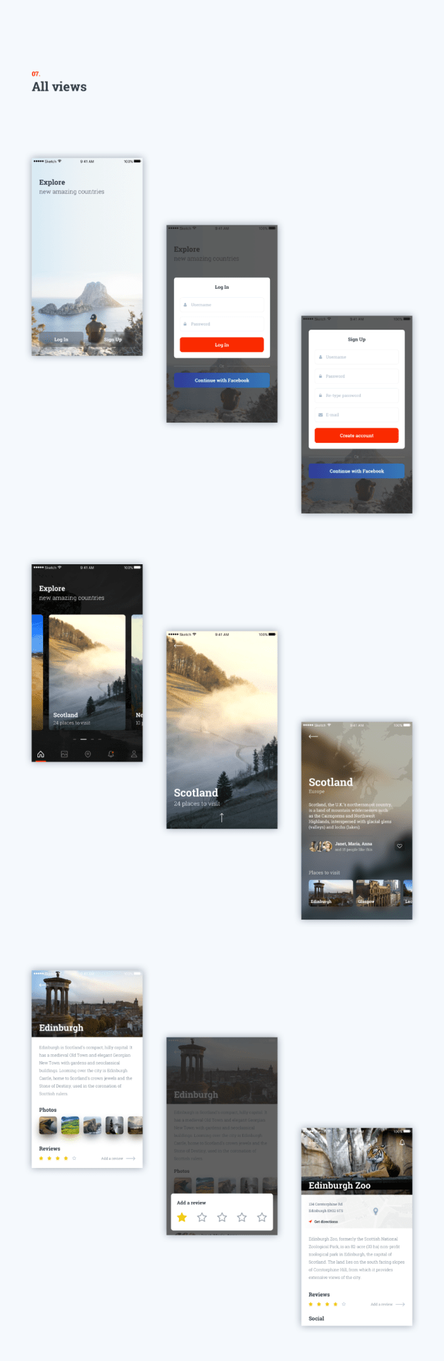 Travel App Free Sketch UI Kit