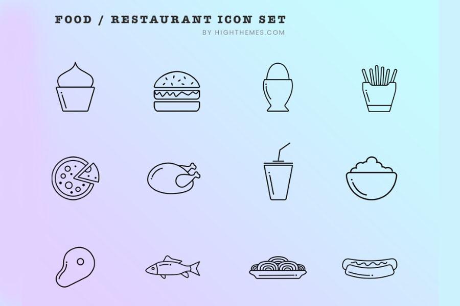 12 Free Food Restaurant Icons