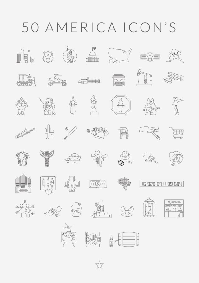 50 America Free Linear Icons