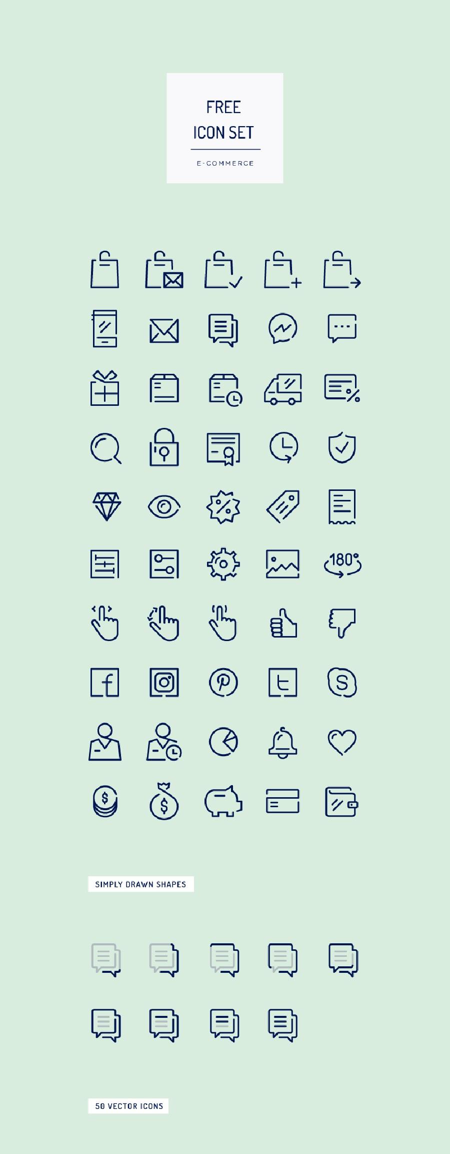 50 Free E-Commerce Icon Set