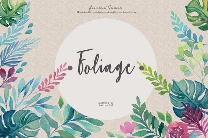 Foliage Watercolor Design Kit