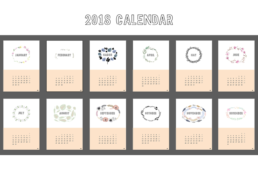 Free 2018 Floral Calendar Design