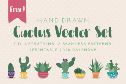 Free Hand-drawn Cactus Vector Set