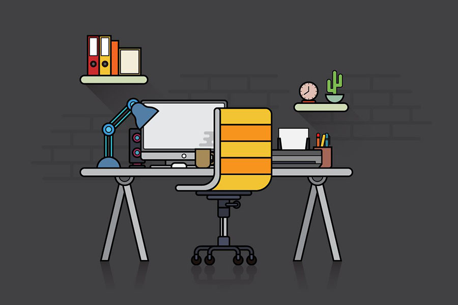 Flat Design Workspace Illustration Vector