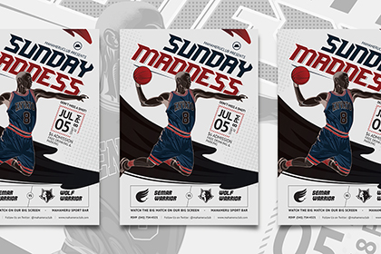 Free Basketball Match Flyer Template