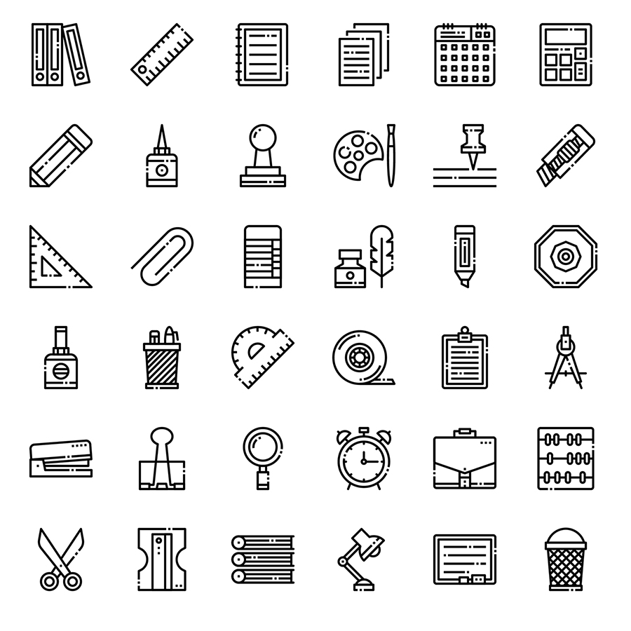 36 Free Stationery Linear Icons