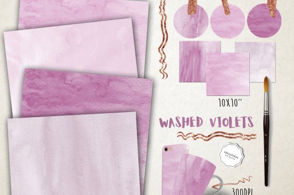 Violets Watercolor Textures Pack