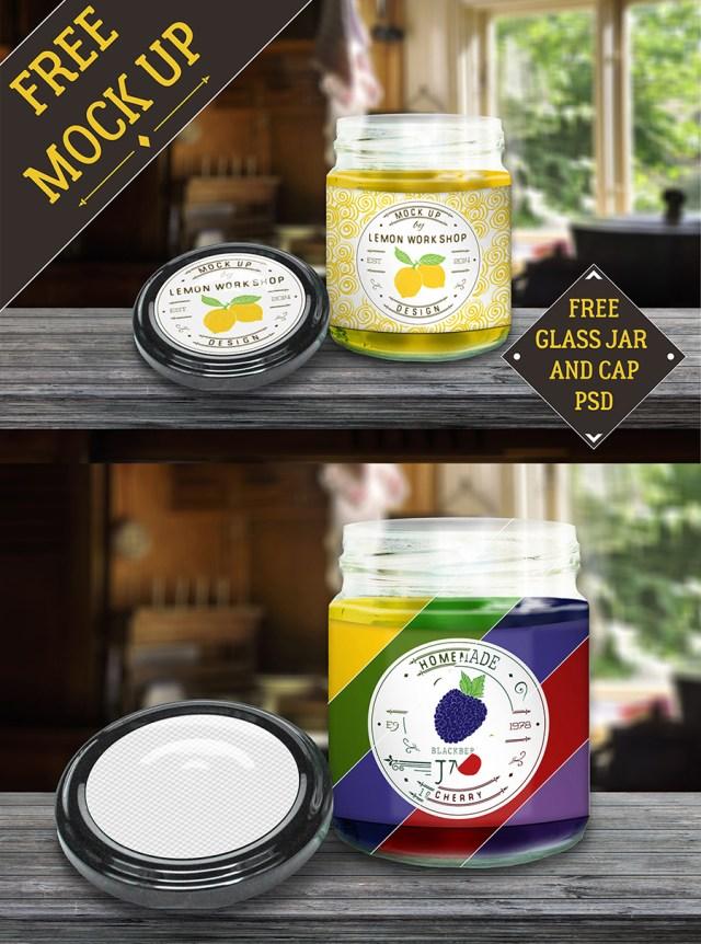 Glass Jam Jar Free Mockup