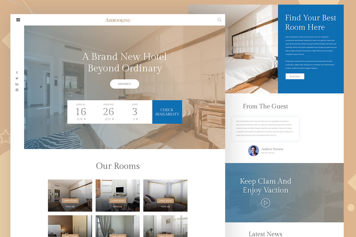 hotel booking website template free design resources. Black Bedroom Furniture Sets. Home Design Ideas