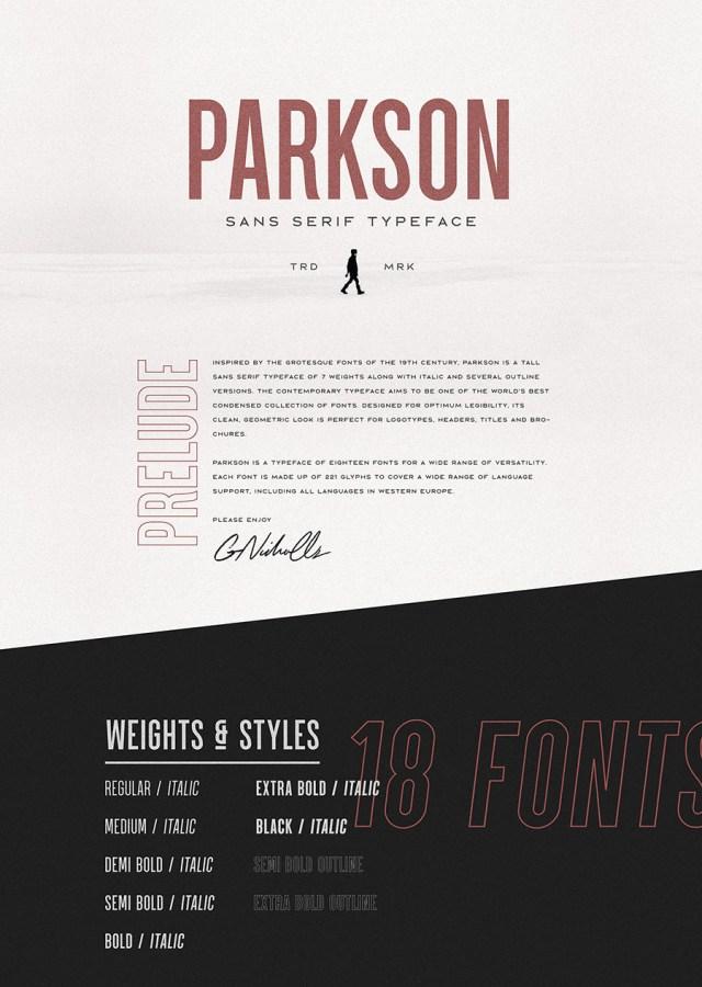 Parkson Free Font Demo