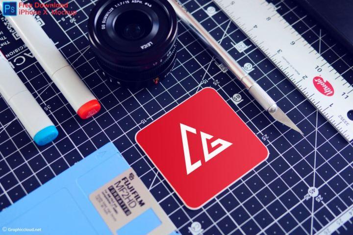 Free Sticker PSD Mockup