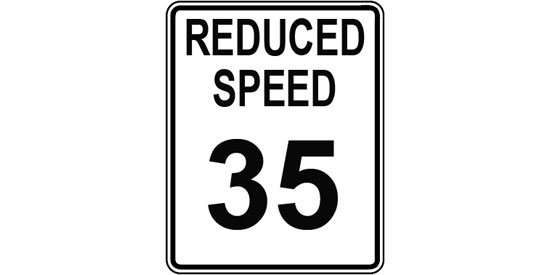 Reduced speed 35 mph