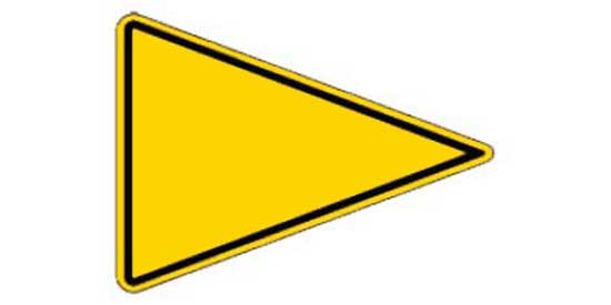 pennant-shaped warning sign