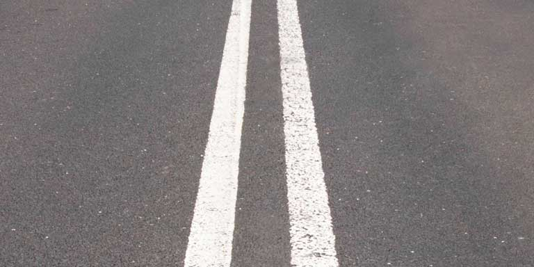 A double solid white line