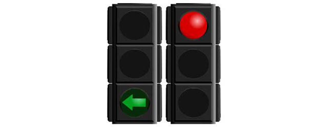 Green arrow and solid red light